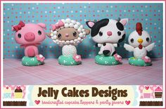 Barnyard Buddies cake toppers by Jelly Cakes, via Flickr