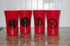 Monogram Personalized tumblers set of 4 cups great by brandiwalk, $12.00