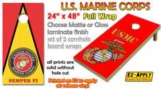 marine corps cornhole board wrap