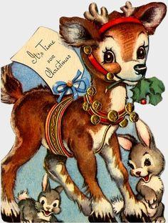 Old Christmas Post Сards — Deer (567x750)