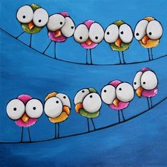 The meeting - Original acrylic painting canvas whimsical birds on a wire 20 x 20 inches #Whimsicalfolkart