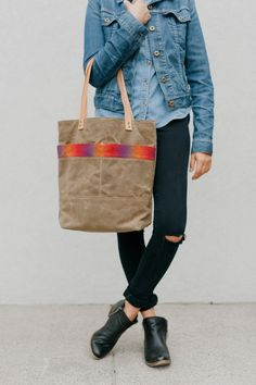 Waxed Canvas Tote Bag / Shoulder Bag by buttonsandtweed on Etsy