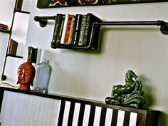 The Industrial Pipe Bookshelf: Cast Iron Shelving - Unfinished Man Great manly site too.