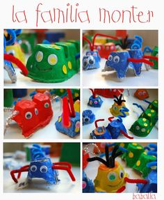 Egg carton monsters. Tutorial is in Spanish, but u get the gist just by the pics.