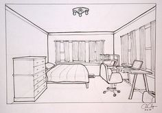 1 Point Perspective Bedroom Drawing