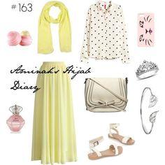 Hijab Fashion 2016/2017: Aminahs Hijab Diary #hijab #muslimah #modest #fashion #lemon #yellow #sweet #cute #skirt #blouse #dot #summer #spring #look #style #outfit #ootd