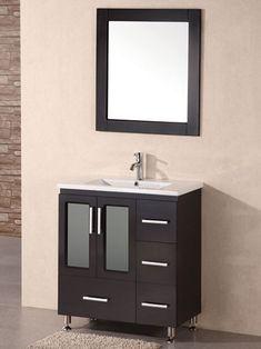 Found it at AllModern - Milan Stanton Single Modern Bathroom Vanity Set with Mirror Bathroom Vanity Sizes, Narrow Bathroom Vanities, Single Sink Bathroom Vanity, Vanity Sink, Bath Vanities, Vanity Cabinet, Very Small Bathroom, Modern Bathroom, Small Bathrooms