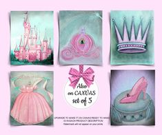 Pink Aqua Nursery, Baby Girl Nursery Decor, Princess Wall Art, Princess Nursery, Nursery Prints, Nursery Wall Art, Art Prints, Castle, Crown