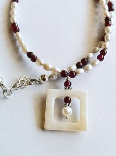 Pearl Garnet and Shell square pendant by ToadsLilyPondJewelry, $98.00