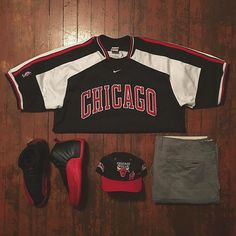 I would wear this to a sports event since the bull is my favorite team. Plus red and black are my favorite colors. The shirt shows how you would be representing the Bulls at the sports events. The shoes are an great combination with the outfit.