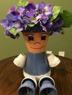 Blue and White Flower Pot People /Pot by RusticMtnGirlCrafts