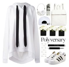 """""""Celebrate Our 10th Polyversary!"""" by sellyankumala ❤ liked on Polyvore featuring Marques'Almeida, adidas Originals, Kara, Joyrich, Frends, white, allwhite, polyversary and contestentry"""
