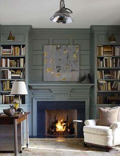 built in library fireplace bookshelf