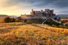The amazing ruins of the Beckov Castle from the mid 13th century located near Nové Mesto Nad Váhom in the Trenčín region.