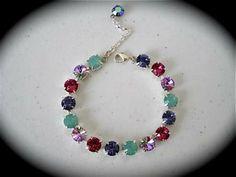 Multi colored Tennis Bracelet -  Multi colored bracelet, Pacific opal, Bridesmaid bracelet, summer colors, rhinestone bracelet, not Sabika by TheCrystalRose for $30.00