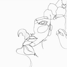 Drawing black pencil - woman drawing - drawing woman and flowers in black felt, Art Inspo, Kunst Inspo, Inspiration Art, Line Drawing, Painting & Drawing, Line Art, Art Sketches, Art Drawings, Woman Drawing