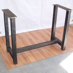 This is a custom built free standing steel table base suitable for holding the heaviest tops. Heavy wood slabs, bowling alley lane material, colored concrete, m