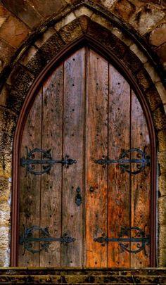 Wooden medieval door from  themagicfarawayttree