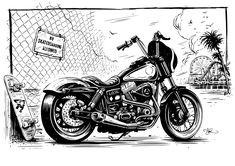 Harley Davidson Dyna illustration by Adi Gilbert / 99SECONDS.com for Tucker Rocky / Biker's Choice. 2016. #motorcycleart #illustration #ink #harley #chopper #adigilbert #dyna #harleydavidson