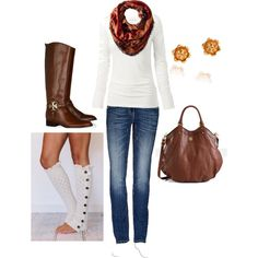 skinny jeans, white sweater, garnet/orange scarf, beige boot socks, tall brown boots, brown tote