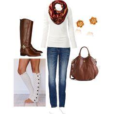 skinny jeans, white sweater, garnet/orange scarf, beige boot socks, tall brown boots, brown tote