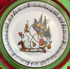 Christmas Dishes, Christmas Tablescapes, Christmas Decor, Xmas, Red Tablecloth, Vintage Tablecloths, Reindeer And Sleigh, Plates For Sale, Christmas Decorations