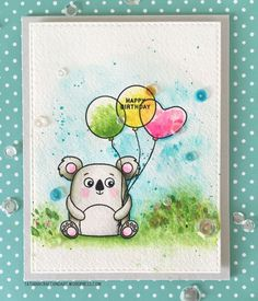SSS Cuddly Critters; SSS Cuddly Critters Accessories;  Stitched Rectangles dies; watercolor; adorable; balloons; koala; birthday
