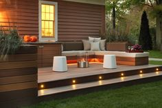 Small Backyard Deck Design Ideas Terrific DIY Small Patio With Wooden Deck Lighting Ideas Patio Interior, Interior Exterior, Modern Exterior, Exterior Stairs, Interior Design, Outdoor Spaces, Outdoor Living, Outdoor Decor, Outdoor Couch