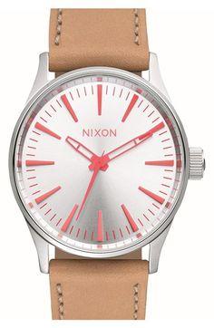 Nixon 'Sentry' Leather Strap Watch, 38mm