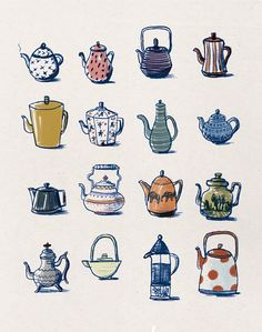 Teapots are like people - extremely different, both inside and outside. Tea Bag Art, Tea Art, Image Japon, Illustrations, Illustration Art, Buch Design, Dibujos Cute, Doodle Art, Cute Drawings