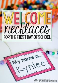 Welcome your students on the first day of school with this editable name tag necklace activity, perfect for kindergarten and first-grade classrooms. Kindergarten First Week, Kindergarten Names, Preschool First Day, First Day Of School Activities, First Day School, Name Activities, Beginning Of The School Year, Preschool Classroom, Kindergarten Activities