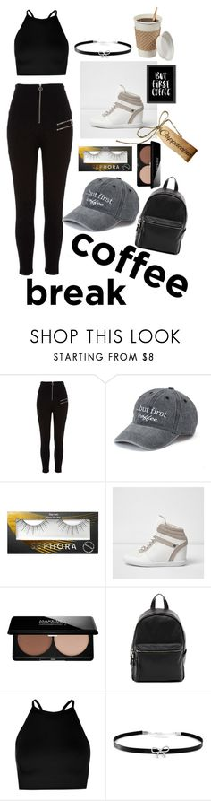 """""""Coffee"""" by bitty-junkkitty ❤ liked on Polyvore featuring River Island, SO, Sephora Collection, MAKE UP FOR EVER, French Connection, Boohoo, Giani Bernini and Americanflat"""