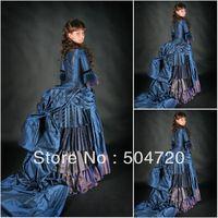 Freeshipping!19 Century White Civil War Southern Belle Gown evening Dress/Victorian Dress Lolita dress US6-26 V-309
