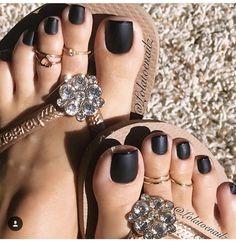Matte black polish.