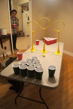 Quidditch pong, drinking games, beer pong, harry potter - this would be fun. Harry Potter Fiesta, Cumpleaños Harry Potter, Harry Potter Birthday, Harry Potter Cakes, Daniel Radcliffe, Anniversaire Harry Potter, Drinking Games, Drinking Funny, Beer Pong