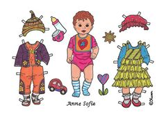 Karen`s Paper Dolls: Anne Sofie Baby Paper Doll Onesheet in Colours. Anne Sofie…