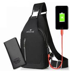 Men USB Messenger Shoulder Bag