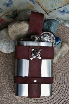Steampunk Oxblood Brown Leather Flask Holder Nickel steel Findings 8 oz Flask Included LARP Cosplay
