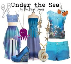 "Outfits inspired by the ""Under the Sea"" scene from the Disney movie Little Merma… Des tenues inspirées de la scène ""Under the Sea"" du film Disney Little Merma … Disney Character Outfits, Cute Disney Outfits, Disney Themed Outfits, Disney Inspired Fashion, Character Inspired Outfits, Disney Bound Outfits, Disney Dresses, Cool Outfits, Disney Fashion"