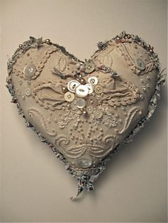 Pretty to use for a ring pillow ...Antique fabric heart, 10x11