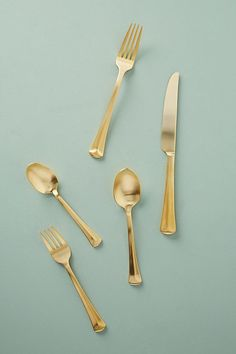 Slide View: 1: Baguette Golden Flatware