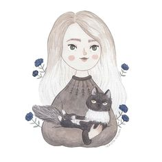 A portrait commission for and her lovely fur baby, Iris💛 Thank you so much for letting me draw you🌻 Nostalgia Art, Anime Girl Drawings, Cute Girl Drawing, Aesthetic Pastel Wallpaper, Illustration Girl, Drawing People, Cute Art, Female Art, Art Inspo