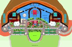 earthship plans | The floor plan below shows the layout of the rooms. The bedroom on the ...