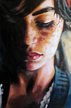 """Blue freckles"" - Thomas Saliot; France {contemporary art female head woman face portrait oil painting} thomassaliot.com"