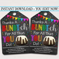 EDITABLE Bundt Cake Appreciation Gift Tags Staff Teacher   Etsy