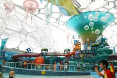 """This is what they did with the """"water cube"""" from the Beijing Olympics- Transformed into """"Happy Magic Water Park"""""""