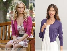 Caroline Forbes (Candice Accola) wears this pink knitted cardigan in this episode of The Vampire Diaries. It is the Banana Republic Cropped Cardigan. Sold Out.