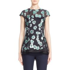 Lela Rose Illusion Yoke Floral Fil Coupe Blouse ($995) ❤ liked on Polyvore featuring tops, blouses, green, green top, floral blouse, see through tops, blue top and floral print blouse
