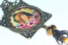 Victorian Pendant BOHO Necklace Hand Paint by GoddessArtCollection