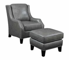 CLEARANCE 50% OFF SPECIAL ORDER Grey Bonded Leather Chair U0026 Ottoman  CO 902408 $578